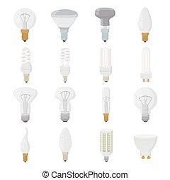 Light bulb icons set, cartoon style