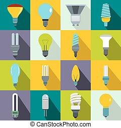 Light bulb icons set, flat style