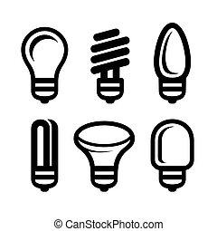 Light Bulb Icons Set on White Background. Vector
