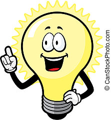 A cartoon light bulb with an idea.