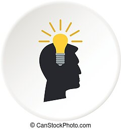 Light bulb idea icon circle