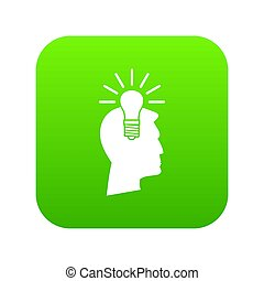 Light bulb idea icon digital green