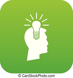 Light bulb idea icon digital green