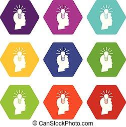 Light bulb idea icon set color hexahedron