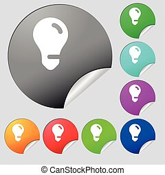 light bulb, idea icon sign. Set of eight multi colored round buttons, stickers. Vector