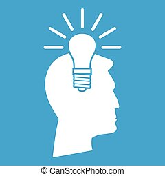 Light bulb idea icon white