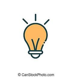 light bulb idea innovation social media line and fill