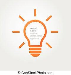 Light bulb idea inspiration concept. Lighted lamp. Solution sign. Template beckground for your creative design, print, booklet, brochure, website, webdesign, mobile app. Vector illustration