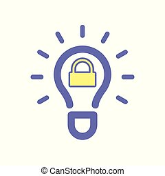 Light bulb idea lock icon