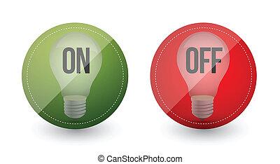 light bulb idea on and off illustration design over white