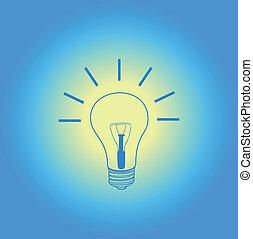 light bulb idea on blue background