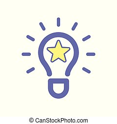 Light bulb idea star icon