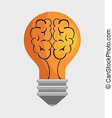 light bulb idea with brain concept icon graphic