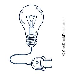 Light bulb idea with electric plug vector simple linear icon, lightbulb science and business line art symbol, creative solutions.