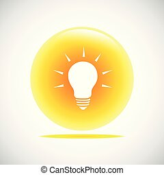 light bulb idea yellow button