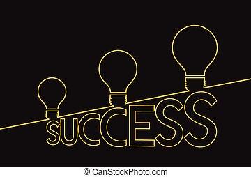 Light bulb ideas to success . Idea concept . Success concept.