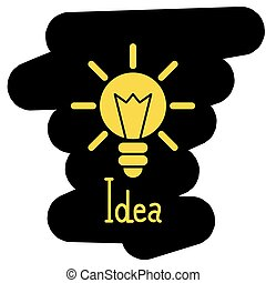 Light bulb illustration of the idea of a black and yellow background
