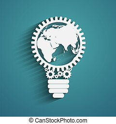 light bulb with gears and cogs working together, idea...