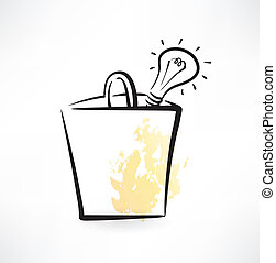 light bulb in a paper bag grunge icon
