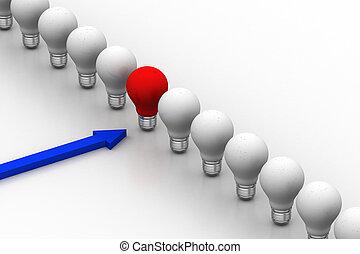 light bulb in a row