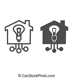 Light bulb in building line and solid icon, smart home concept, Electricity with connections sign on white background, House with lighting bulb icon in outline style mobile, web. Vector graphics.