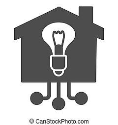 Light bulb in building solid icon, smart home concept, Electricity with connections sign on white background, House with lighting bulb icon in glyph style mobile, web. Vector graphics.