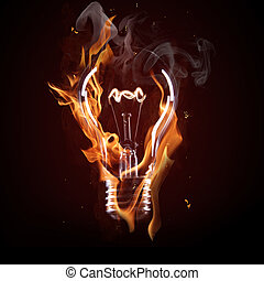 light bulb in fire on black background