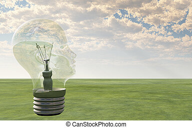 Light bulb in form of human head looks out over landscape
