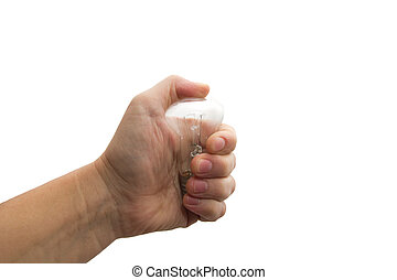 Light bulb in hand isolated on a white background