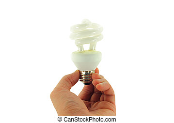 Light bulb in Hand Isolated on White