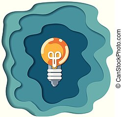Light bulb in paper cut style. Vector illustration.