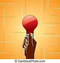 light bulb in the hand with arrow