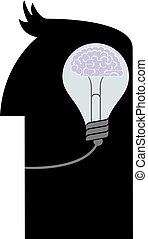 Light bulb in the human brain. Isolated over white background.