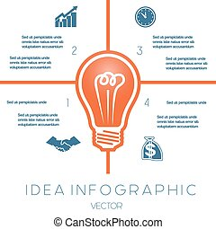 Light bulb infographics template on four positions possible...