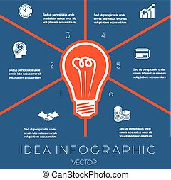 Light bulb infographics template six positions