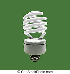 light bulb isolated on green background