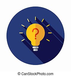 Light bulb lamp icon with question mark inside. Hint symbol