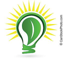 Light bulb leaf sun logo