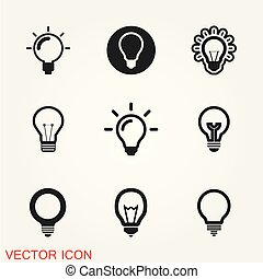 Light Bulb line icon vector, isolated on background.