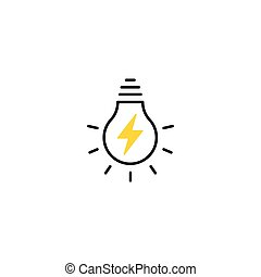Light Bulb line icon vector with lightning inside, isolated on white background. Idea sign, solution, thinking concept. Lighting Electric lamp. Electricity, shine.