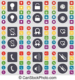 Light bulb, Lock, Pizza, Smartphone, Medal, Heart, Receiver, Sound, Microphone connector icon symbol. A large set of flat, colored buttons for your design. Vector