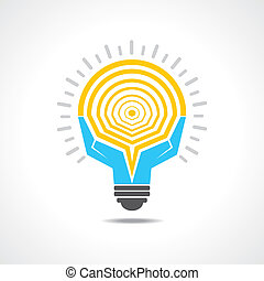 Light-bulb made by hands stock vector