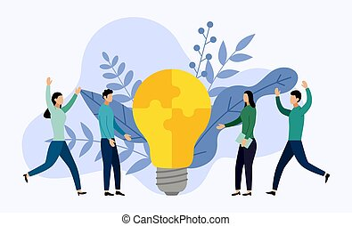 Light bulb made of puzzle pieces, business concept vector illustration
