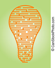Illustration of a complex maze of ideas in a light bulb shaped outline