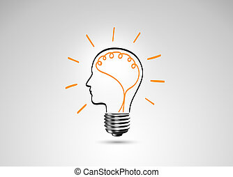Light bulb metaphor for good idea, Inspiration concept