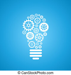 light bulb of gears and cogs over white background