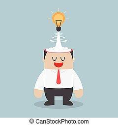 Light bulb of idea exploding from businessman head