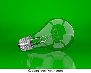 light bulb on a green
