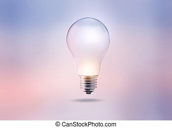 light bulb on a pastel color tone background
