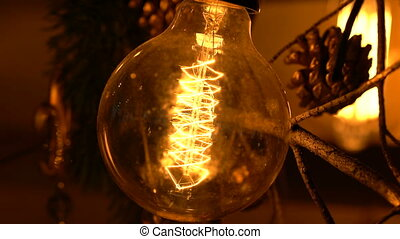 Light bulb on a wooden background